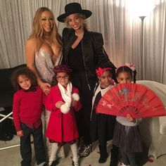 'With our beautiful children': Beyonce and her daughter Blue Ivy (right) took a photo with Mariah Carey and her twins, Moroccan and Monroe (left), and another young friend at Carey's holiday concert in New York on Sunday Blue Ivy Carter, Mariah Carey Kids, Mariah Carey Concert, Mariah Carey Honey, Mariah Carey Christmas, Destiny's Child, Beyonce E Jay Z, Beyonce Knowles Carter, Nick Cannon