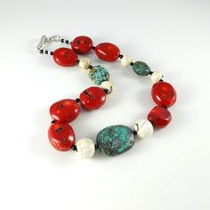 Tribal Jewelry Red Coral Necklace Turquoise by CalliopeAZCreations, $155.00