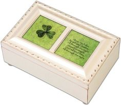 "Guardian Angel Petite Ivory Music Box Plays ""Irish Lullaby"" by Cottage Garden. $21.99. Makes A Perfect Gift Or Family Keepsake.. Plays ""Irish Lullaby"". Beautiful Ivory Finish.. Easily Personalize With Your Own Photos And Messages. This beautifully trimmed Music Box / Jewelry Box makes the perfect gift. The Sankyo brand musical movement is enclosed in glass for an added touch of luxury. Use the photo opening to add your own special touch of personalization."