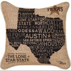 "17"" Decorative ""The Lone Star State of Texas"" Tapestry Throw Pillow"