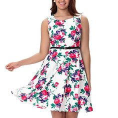 b99bfab64a6 One Sight Women s Vintage 1950 s Floral Dress Boat Neck Sleeveless Party  Cocktail Dress at Amazon Women s Clothing store