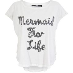 Iron Fist Mermaid For Life Oversized Crop Tee (3.565 ISK) ❤ liked on Polyvore featuring tops, t-shirts, oversized white tee, sequin top, crop top, white crop tee and crop tee