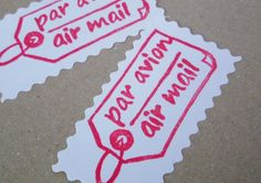 Air mail and Par avion tag hand carved rubber stamp by fatpumpkin, $5.00