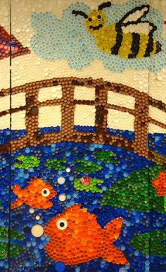 Sharpies, paint, and paper! Oh my!: About 13,000 bottle caps, 34.5 tubes of glue, 96 square feet, 5 days...