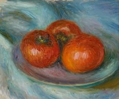 William Glackens (American, 1870-1938),Three Tomatoes,c.1915. Oil on wood panel, 21.6 x 26.7 cm.