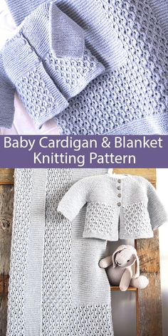 Knitting Pattern for Baby Blanket & Jacket Matching Set Knitting , lace processing is one of the most beautiful hobbies that girls cannot give up. Baby Cardigan Knitting Pattern, Baby Boy Knitting, Knitting For Kids, Knitting Ideas, Free Knitting, Layette Pattern, Baby Knits, Blanket Jacket, Baby Pullover