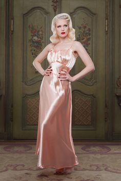 Peach Bettie Stretch Satin Full Length Nightgown 1930s inspired vintage style perfect for any pinup girl  AT vintagedancer.com