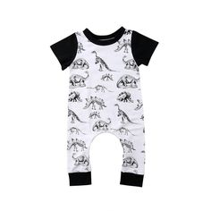 Cheap Rompers, Buy Directly from China Suppliers:Kids Baby Boy Girl Dinosaur Pattern Short Sleeve Black White Romper Long Pants Jumpsuit Outfits Summer Baby Girl Pants, Baby Girl Romper, Baby Boy Outfits, Girls Fashion Clothes, Baby Boy Fashion, Toddler Fashion, Romper Long Pants, Black And White Romper, Black White