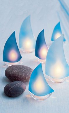 blue Candleholder, frosted glass, tealight candle, sailing boat, glass candeholder