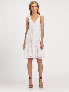 MICHAEL MICHAEL KORS - Cotton Eyelet-Panel Dress - Saks.com