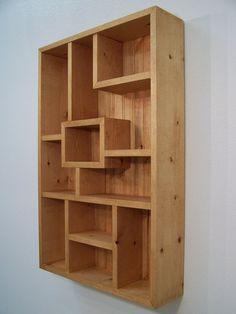 Modern Wood Wall Art Display Shelves Shadowbox, Western Decor Shadow Box Display Case, Wood Shelf