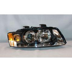 Replacement TYC Passenger Headlight For Audi 02 Audi A4, Chrome, Cutaway