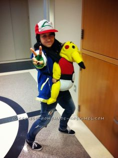 Adorable Pikachu Baby and Ash Mom Costume...