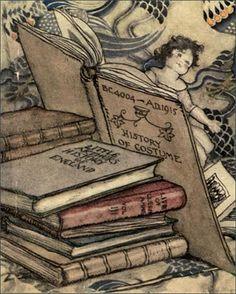 Arabella Stuart amongst the books, The Queen's  Gift Book, 1915 // illustrator: Arthur Rackham  | Flickr: Plum leaves