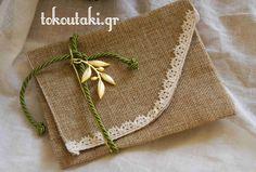Φάκελος με χρυσή ελιά και λαδί κορδόνι