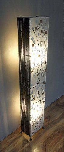 Unusual Lamp Hand Made Shell Coin Motif Bamboo Contemporary Floor 150cm
