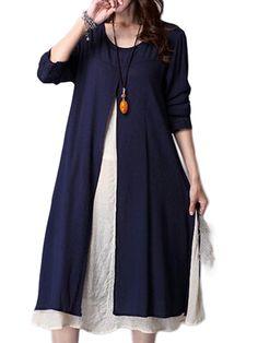 Ruffles Linen Cotton Patchwork Long Sleeve Loose Dress