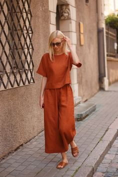 Linen culottes ANNA, Wide leg pants, High waist linen pants, Redwood linen pants, Handmade by LinaKraun Summer Outfits, Casual Outfits, Fashion Outfits, Womens Fashion, Retro Fashion, Korean Fashion, Vintage Fashion, Mode Turban, Culottes