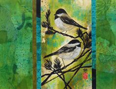 Japanese Bird Ink Abstract Acrylic Nature Painting, FALL SALE, Contemporary 11x14  Paper Tapestry Collage Art by artist Lynn Gobble by LynnGobbleDesigns on Etsy