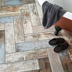 Rustic Blue Reclaimed Wood Effect Tiles Rustic Blue Wood Plank Tiles Wood Effect Floor Tiles, Ceramic Floor Tiles, Bathroom Floor Tiles, Wood Bathroom, Porcelain Floor, Bathroom Ideas, Small Bathroom, Floor Texture, Wood Floor
