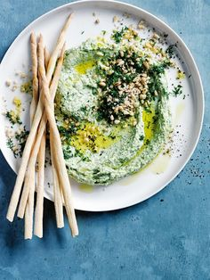Spinach, Feta, and Dill Hummus With Pine Nuts