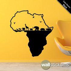 Africa Safari Animals Wall Decal Vinyl Wall Art Decal Sticker Elephant Giraffe via Etsy Bird Wall Decals, Animal Wall Decals, Vinyl Wall Decals, Afrika Tattoos, Yen Yang, Africa Art, Black Artwork, Elephant Tattoos, Safari Animals
