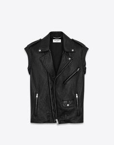 SAINT LAURENT Black Sleeveless Motorcycle Jacket. #saintlaurent #cloth #