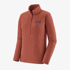 W's R1® Air Zip-Neck - Spanish Red (SPRE) (40250) Body Size, Fleece Fabric, Quick Dry, Patagonia, Shirts, Zip, Spanish, Hiking Clothes, Komfort