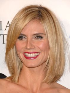 "THE BOB Heidi Klum This length is universally pretty because it's not too long, says Garren. ""It's a soft, layered bob, squared off and blunt on the bottom—the same length all around. The bangs should be cut to the middle of the nose and swept to the side."" This style works on all face shapes and hair types. ""It could even work on wavy or curly hair if you blow it out,"" he says"