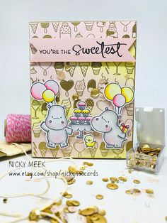 Happy Hippos - MFT Stamps. Card by Nicky Noo Cards #nickynoocards