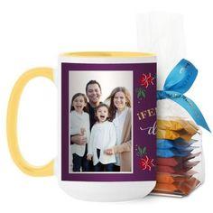 Felices Fiestas Mug, Yellow, with Ghirardelli Minis, 15 oz, Purple
