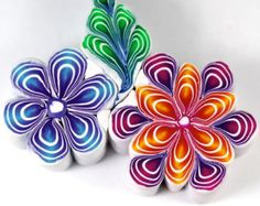 This Polymer Clay Quilled Canes Tutorial is just one of the custom, handmade pieces you'll find in our craft supplies & tools shops. Cane Fimo, Polymer Clay Canes, Polymer Clay Flowers, Fimo Clay, Polymer Clay Projects, Polymer Clay Creations, Polymer Clay Jewelry, Clay Crafts, Video Fimo