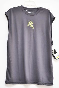 AND1 MEN BASKETBALL TEE GRAY Sleeveless 100% Polyester size L NWT #AND1 #BaseLayers