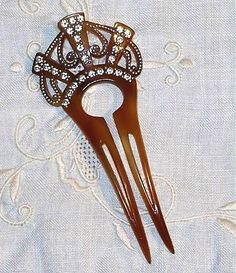 1920s Celluloid Rhinestones Hair Back Comb Pin.