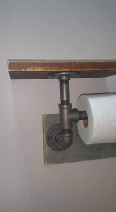 Industrial Toilet Paper Holder, Farmhouse Toilet Paper Holder, Plumbing Pipe Toilet Paper Holder, Industrial Bathroom, Rustic - with Shelf Industrial Toilets, Industrial Bathroom, Farmhouse Toilet Paper Holders, Plumbing Emergency, Picture Shelves, Plumbing Problems, Insulation Materials, Iron Pipe, Plumbing Pipe