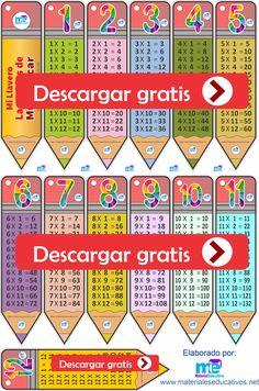 Llaveros de las tablas de multiplicar GRATIS Kindergarten Social Studies, Social Studies Activities, Preschool Writing, Preschool Learning, Pride Quotes, Multiplication Chart, Math Charts, Classroom Labels, Kids Math Worksheets