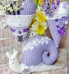 Купить Улитка тильда сердечки интерьерное украшение - сиреневый, улитка, Тильда улитка, сердце