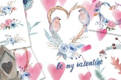 Watercolor Valentines Set with Bird, Hearts, Floral Composition Cliparts, Invitations, Frames