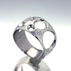 BUBBLES 14k White Gold Ring  with Diamonds by Arosha Taglia