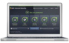 White laptop with AVG Internet Security screenshot