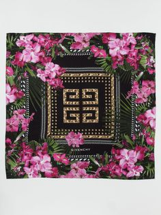"Silk Twill Studs & Flowers Scarf 35"" x 35"" by Givenchy. Beautiful silk scarf!!!"