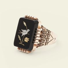 Victorian Onyx Ring with Tricolor Bird Inlay, $775.