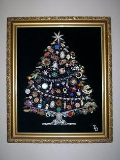 Huge Vintage Rhinestone Jewelry Christmas Tree w/ Gesso Framed Art By Tami R Dean