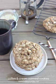 Coffee & Cream Oatmeal Cookies | Bake Your Day