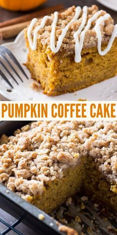 Moist, delicious pumpkin coffee cake has delicious streusel topping and a drizzle of cream cheese glaze on top. The BEST pumpkin recipe for fall #pumpkin #coffeecake #crumbcake #pumpkincake #moist #easy  #pumpkin #fallrecipe from Just So Tasty Fall Dessert Recipes, Köstliche Desserts, Fall Recipes, Sweet Recipes, Delicious Desserts, Yummy Food, Tasty, Recipes For Cakes, Pumpkin Coffee Cakes