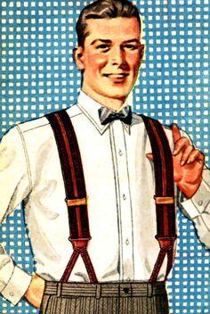 Vintage Dapper Gentleman With Suspenders