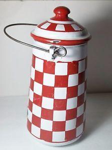 Charming-Vintage-French-Enamelware-Enamel-Graniteware-Red-White-Check-Milk-Pail