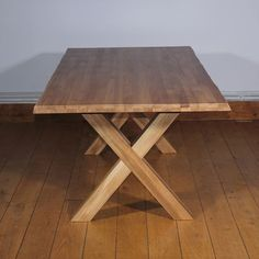 Ex-Photography Oak Cross Leg Dining Table - #Christmassale