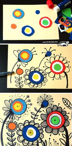 Kunst in der Grundschule: Doodle Blumen art for kids ideas How to draw FLOWERS Arte Elemental, Easy Art Lessons, Classe D'art, Cool Art Projects, Art Project For Kids, Class Art Projects, Paper Art Projects, Summer Art Projects, Kids Art Class