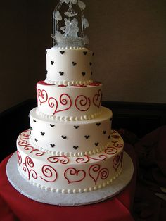 Mickey Mouse wedding cake :) - Perfect for a wedding on or near Valentine's Day!